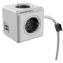 "Allocacoc ""Powercube, Extended USB, 4xDosen(CEE7)->Stecker(CEE7), 1,5m, weiss/grau"""
