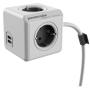 "Allocacoc""Powercube, Extended USB, 4xDosen(CEE7)->Stecker(CEE7), 1,5m, weiss/grau"""