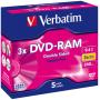 "Verbatim""1x5 Verbatim DVD-RAM 9,4GB 3x Speed hardcoated Cartridge T4"""
