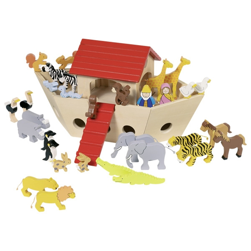 Noah und Frau Arche Noah aus Holz inkl 30 Tiere